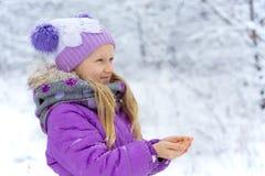 Little girl on a winter walk. On a snowy day Stock Photos