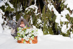 Little girl in a winter wood Royalty Free Stock Photos