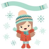 Little girl in wintertime with snowflakes. Cute illustration in kawaii style of a little girl enjoying winter weather, with snowflakes and a scarf as a banner stock illustration