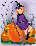 Little girl witch in black hat Royalty Free Stock Photo