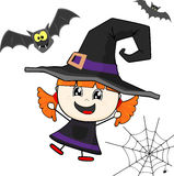 Little girl with witch costume Stock Images