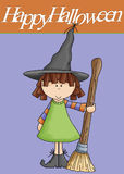 Little Girl Witch Happy Halloween. This cute little girl witch was added to a blue and orange background. Then topped with the words Happy Halloween. This would stock illustration