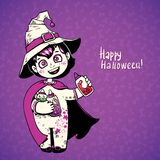 Little girl witch holding baby bottles with witchcraft potions.  Happy Halloween card Royalty Free Stock Photo