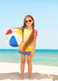 Little Girl With A Ball. Stock Photos