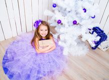 Little Girl With A Gift Near Christmas Tree Royalty Free Stock Image
