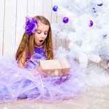 Little Girl With A Gift Near Christmas Tree Stock Image