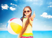 Little Girl With Ball. Royalty Free Stock Images
