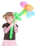 Little Girl With Baloons Flower Stock Images