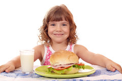 Free Little Girl With Big Sandwich And Milk Stock Photos - 29617363