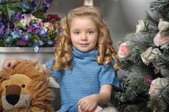 Little Girl With Blonde Curls Stock Photos