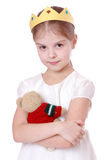 Little Girl With Toy Bear Royalty Free Stock Images