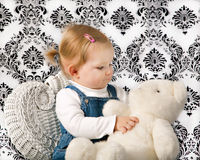 Free Little Girl With White Teddy Bear Royalty Free Stock Photo - 18596865