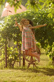 Little girl witn pink umbrella royalty free stock photo