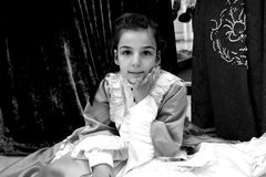 Little girl. Little woman dressed as a lady stock photo