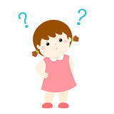 Little girl wondering cartoon character  Stock Images