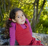Little girl in woods. Little girl sitting on a rock in the woods Stock Images