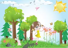 Little Girl in the Woods vector Stock Images