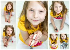 Little Girl Working on Diy Project Stock Photos