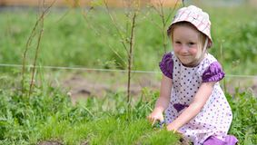 Little girl working in the garden with scissors Stock Photography