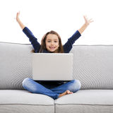 Little girl working with a laptop Royalty Free Stock Images