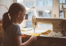 Little girl working. Royalty Free Stock Images