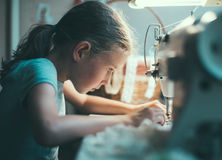 Little girl working. Royalty Free Stock Photography