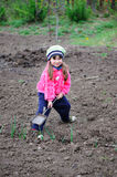 The little girl works in the garden Royalty Free Stock Image