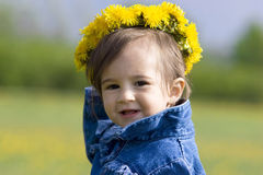 Little girl with wreath Royalty Free Stock Photos