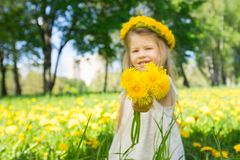 Little girl with a wreath of flowers Royalty Free Stock Images