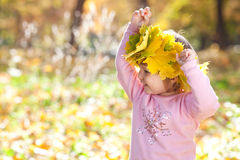 Little girl in a wreath of maple leaves in autumn fore Stock Photography