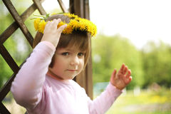 Little girl with wreath portrait Royalty Free Stock Photos