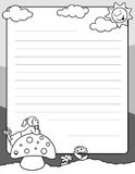 Little girl write a letter page. Cute letter writing page for kids to send to friends during the summer vacation Stock Photo