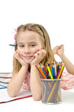 Little girl writing Royalty Free Stock Photography