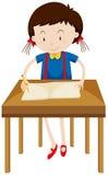 Little girl writing on blank book. Illustration Stock Images