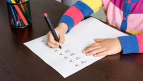 Little Girl Writing Letters Stock Photos