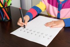 Little Girl Writing Letters Stock Photo