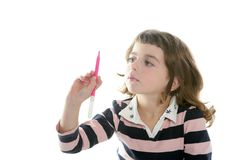 Little girl writing marker copy space Royalty Free Stock Photography