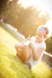 Little girl writing Royalty Free Stock Image