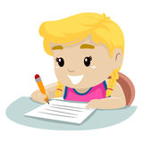 Little Girl writing on a piece of paper Royalty Free Stock Images