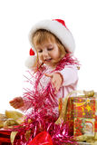 Little girl with a xmas gift Royalty Free Stock Image