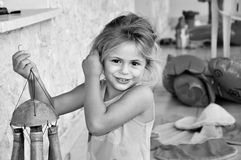 Little girl. 4 years old girl in black and white photo Stock Photo