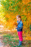 Little girl with yellow autumn golden leaves. Child play outdoors in the park. Royalty Free Stock Photography