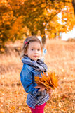 Little girl with yellow autumn golden leaves in her hand. Child play outdoors in the park. Royalty Free Stock Images