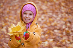 Little girl in yellow coat collects Royalty Free Stock Photography