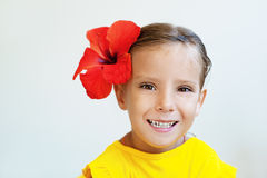 Little girl in yellow dress Stock Images