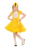 Little girl in a yellow dress Stock Photos