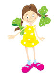 Little_girl_in_yellow_dress. Standing_Little_girl_in_yellow_dress Vector Illustration