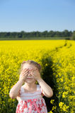 Little girl on yellow field Stock Image