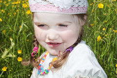 Little girl is among yellow flowers Royalty Free Stock Image