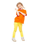 Little girl at yellow jeans Royalty Free Stock Photos